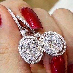 NEW 18K White Gold Oval Diamond Halo Earrings